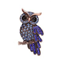 Wholesale brooches pin owl resale online - Fashionable Delicate Owl Brooch With Full Rhinestone White And Blue Silver Alloy Grace Owl Pin Women Jewelry Gift