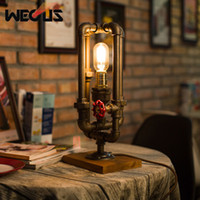 Wholesale art deco paintings online - American industrial water pipe style table lamp retro creative decorative table light bedroom living room bar restaurant lamp