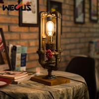 levou luz água lâmpada de mesa venda por atacado-Tubulação de água industrial estilo americano candeeiro de mesa retro criativo decorativo mesa de luz quarto sala de estar bar restaurante lâmpada