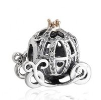 Wholesale Pandora Pumpkin Bead - Authentic 925 Sterling Silver Cinderella Pumpkin Charm Beads Gold Plated CZ Rhinestone Pumpkin Bead Fits Pandora Bracelets DIY Fine Jewelry