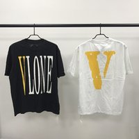 Wholesale White Cotton Fitted Tee Shirts - 2018 Vlone Pop Up Store Beijing Limit Logo Printed Women Men T shirts tees Hiphop Loose Fit Cotton Casual Men T shirt Tops tees