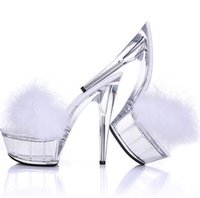 escarpins à talons aiguilles achat en gros de-Sexy Bird Feather Fur PVC Sandals Slingbacks Talons hauts Sandales Slipper Chaussures Pompes Transparent Stiletto Night Club Ball Crystal