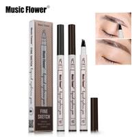 Wholesale pencil flower - Music Flower Liquid Eyebrow Pen Music Flower Eyebrow Enhancer 3 Colors Four Head Eyebrow Enhancer Waterproof Free DHL 96