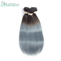 Wholesale hair two weft for sale - 1B Grey Straight Hair Two Tone Ombre Brazilian Virgin Hair Weave Silver Grey Ombre Brazilian Human Hair Extensions