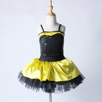 ingrosso giallo balletto-Le donne Balletto Body Dance Dress Abiti New Yellow Black Swan Lake Ballet Costume bambini Sequins Dress