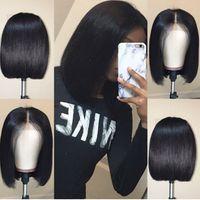 bob wigs toptan satış-Bob Dantel Ön İnsan Saç Peruk Bebek Saç Öncesi Koparıp Ile Brezilyalı Remy Saç Siyah Kadınlar Için Tam Ucu Düz Kısa Bob Peruk