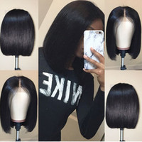 Wholesale full swiss lace human hair wigs online - Bob Lace Front Human Hair Wigs With Baby Hair Pre Plucked Brazilian Remy Hair Full End Straight Short Bob Wig For Black Women