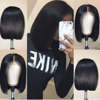 human hair wigs venda por atacado-Bob Rendas Frente Perucas de Cabelo Humano Com o Cabelo Do Bebê Pré Arrancado Remy Cabelo Brasileiro Full End Reta Curta Bob Peruca Para As Mulheres Negras