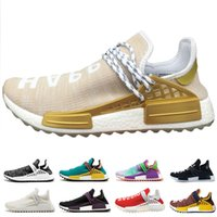 Wholesale glow dark sun - Wholesale human race Pharrell Williams running shoes holi Equality Blank Canvas core black sun glow yellow red trainers sports Sneakers