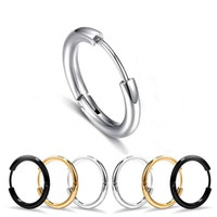 Wholesale 18mm earrings for sale - Group buy E Titanium steel Men s Smooth Hoop Earrings Jewelry mm mm mm mm mm mm K Black White Color