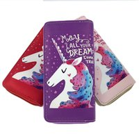 Wholesale zipper fabric wallet for sale - Group buy PU Unicornio Purse Portable Cartoon Unicorn Zipper Bag May All Your Dreams Come True Designer Wallet jr XC