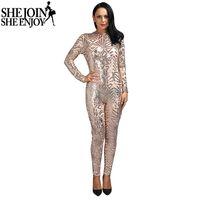 9b25cc8c90a3 ShejoinSheenjoy Rompers Womens Jumpsuit 2016 nuove donne Sexy aderente nero    bianco   oro rosa geometrica sequin manica lunga tuta