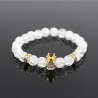 königskrone gold großhandel-Micro Pave Weiß CZ Gold Farbe König Crown Charm Armband Männer Langweilig Polnischen Weißen Popcorn Stein Perlenarmband Schmuck Für Frauen