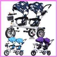 bicicletas de ruedas para niños al por mayor-Baby Twins Triciclo Cochecito 3 ruedas Cochecito doble para niños Gemelos Asiento de la barandilla Bebé Niño Bicicleta Triciclo del coche Niño Cochecito