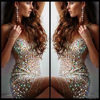 vestido de cóctel de cristal nude al por mayor-Venta caliente Bling Beads Prom Vestidos Short Crystal Colorful Jewel Nude Tulle vaina vestidos de cóctel Vestidos de noche