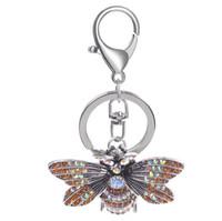 porta-chaves do carro venda por atacado-New cristal strass borboleta jóias chaveiro chave titular cadeia carro saco de pingente de rosa azul