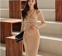 kadınlar için ofis giyim kostümleri toptan satış-Bir set Zarif Kadın etek takım elbise yaz moda Ofis Lady V Yaka Uzun kollu Üst Kalem etek Röportaj artı boyutu Iş Elbisesi