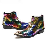 italienische dressing man boots großhandel-Mode Luxus Männer Stiefel Aus Echtem Leder Spitz Stiefeletten für Männer Italienische Business Kleid Schuhe Cowboy Stiefel