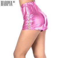 mini mulher sexy curta venda por atacado-HARPIA Verão Sexy Mini Shorts Skinny Shiny Mulheres Com Cordão Shorts Elástico de Cintura Alta Casual Bar Night Club Calças Curtas Femme