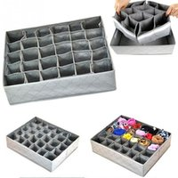 складные ящики для хранения ткани оптовых-30 cells Foldable non-woven fabric underwear socks tie drawer organizer storage box 34*32*10cm