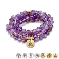 cuentas de hilo morado al por mayor-Alta Calidad 108 Natural Purple Crystal Lotus Colgante Pulsera o Collar Natural 8mm Piedra Apple Beads Female Long Hand String