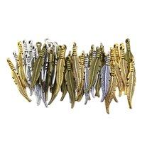 metal tüy takıları toptan satış-100 adet Moda Mini Tüy Charms Vintage Metal Kolye Çinko Alaşım Küçük Tüyler Charms Takı Kolye Charms Için