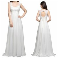 Wholesale white gold beaded top - 2018 Cheap Lace TOP A-Line Wedding Dresses Lace Up Back Custom Beaded Open Back Bridal Gowns Cheap Sale Real Photos