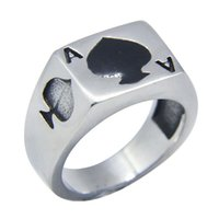 Wholesale popular poker - 1pc Size 7-13 Poker Spade A Ring 316L Stainless Steel Popular Fashion Jewelry Biker Hiphop Style Cool Heart Ring