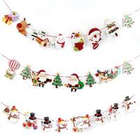paracaidismo santa decoración al por mayor-Decoración de la Navidad Banner Bandera Año Nuevo Decoración del partido Santa Snowman Parachute Flags Garlands Decoración de Navidad CMS9121 # 1023
