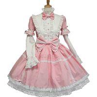 lolita cosplay blau großhandel-Rosa Blau Schwarz Baumwolle Multilayer Sweet Lolita Kleid Halloween Cosplay Kleider Anime Love Live Kostüm