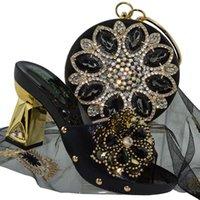 sacos de chinelos de festa venda por atacado-Qsl001 Nigeriano Decoração Com Sapatos De Mulher De Pedra E Conjunto de Saco de Moda Sapatos de Bombeiro Chinelo Africano E Sacos Para Festa