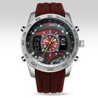 ingrosso orologi rossi della cinghia rossa-Relogio cinturino in gomma impermeabile durevole con quadrante rosso cinturino in gomma impermeabile cronografo KAT-WACH