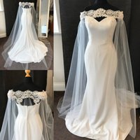 Wholesale actual mermaid wedding dresses for sale - Group buy Actual Photo Mermaid Wedding Dress with Long Wrap Lace Tulle Chiffon Off Shoulder Elegant Newest Bridal Gowns Custom Size