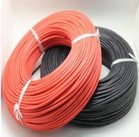 rouleaux de câble achat en gros de-Livraison gratuite 100 mètres / rouleau calibre 14 (AWG) câble de fil de caoutchouc de silicone souple et super souple noir / rouge