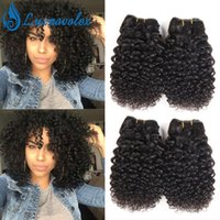 Wholesale short curly hair weave - Brazilian Human Hair Jerry Curly 4 Bundles Short Human Hair Weave Bundles Peruvian Malaysian Indian Hair Extensions 50g Bundle Natural Color