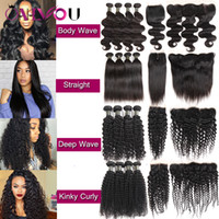 Wholesale new curly hair - New Arrival Brazilian Tissage Body Wave Virgin Human Hair Weaves Lace Closure Frontal Bundles Deep Wave Kinky Curly 4 Bundles with Closure