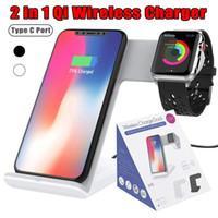 apple iwatch charging toptan satış-2 in 1 kablosuz şarj standı pad iphone x 8 8 artı hızlı şarj için kablosuz şarj apple watch 3 samsung s9 s8 s7 s6 için iWatch 2
