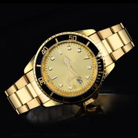 Wholesale Steel Dive Case - Mens dive Quartz Sports Watches Luxury silver and gold case Watches Fashion Full Steel Watches Men Business Wristwatches