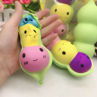 bean charm NZ - Squishies wholesale New Squishy Peas jumpo 14CM kawaii emoji beans squishy slow rising scented squeeze toy phone Straps Charm kids gift