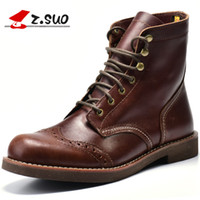 Wholesale dong man - Z.S uo men 's boots. Genuine leather fashion retro men's boots, qiu dong season, lok erkek bot wind boots . zs16701