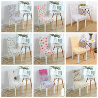 Wholesale fold chair covers - Flower Printing Removable Chair Cover 27 Styles Stretch Elastic Slipcovers Folding Hotel Chair Covering Flower Print Chair Cover OOA5270