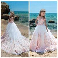 teen uşak elbise pembe toptan satış-2019 Pembe Dantel Aplike Çiçek Kız Elbise Kapaklı Kollu Tül Gençler Çocuklar Kızlar Örgün Parti Pageant Elbise