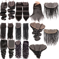 Wholesale deep auburn - Body Wave Loose Deep Wave Kinky Curly Straight Human Hair Lace Frontal Closure Middle Free Part 3 Part 4 x 4 13 x 4 Lace Frontal Closure
