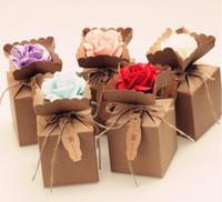 bolsa de papel caixa de flores venda por atacado-Kraft diy caixas de doces de papel do vintage saco de presente com rose flower embalagem de chocolate festa de casamento decoração favores 200 pçs / lote