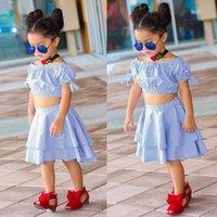 neue ankunftsbabyausstattung großhandel-Neue Ankunft Kinder Baby Mädchen Kleid Zwei Stücke Plaid Bogen Top und Rock Outfit Sommerkleid 2-6 Jahre