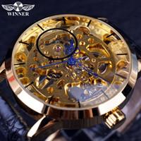 şeffaf el saati adam toptan satış-Kazanan Şeffaf Mavi Eller İskelet Tam Altın Tasarımcı İzle Erkekler Saatler Üst Marka Lüks Mekanik İzle Saat Kol