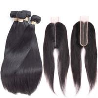 uzun saç demetleri toptan satış-Perulu Bakire Saç Düz 6x2 Kapatma Ile 4 Demetleri Perulu Düz Saç Kapatma Derin Uzun Orta Ayrılık Insan İsviçre Dantel