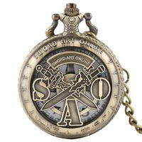 ingrosso orologi al quarzo online-Modern Bronze SWORD ART ONLINE Design Orologio da tasca al quarzo con ciondolo a catena regalo per bambini Giappone Anime Uomo Donna Orologio Fob Orologio