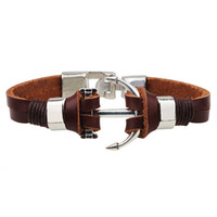 beste freund armbänder großhandel-Anker-Armband für Männer-Edelstahl-Schmuck-bester Freund-Geschenk-Edelstahl-Armband-echtes Kuh-Leder-Armband