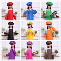 Wholesale free kid crafts resale online - 9 Colors Solid Aprons Kids Apron Pocket Craft Cooking Baking Art Painting Kids Kitchen Dining Bib Children Aprons set CCA9817 set